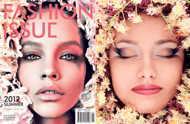 po prawej okładka Fashion Issue, zdjęcie Vince Barati, modelka Barbara Palvin, po lewej zdjęcie nabyte w serwisie Fotolia, autorstwa Khozhevska