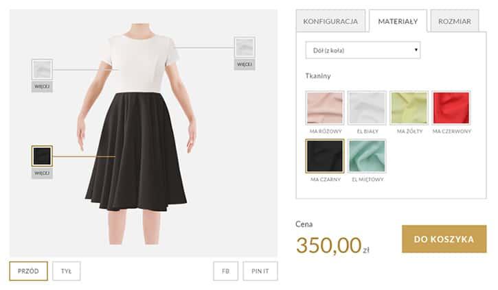 Przykładowy wygląd interfejsu sklepu By My Design z możliwościami personalizacji zamawianego ubioru
