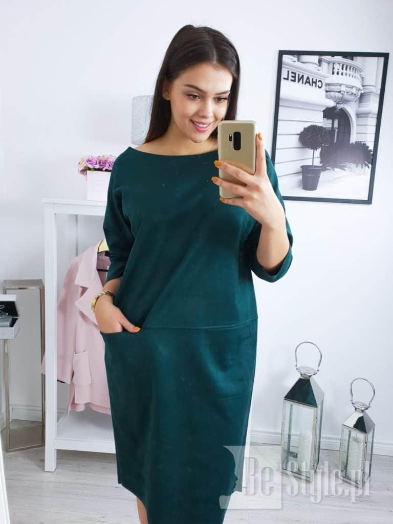 butelkowa zieleń sukienka plus size